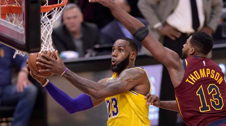 new product 903d6 112b5 Los Angeles Lakers forward LeBron James (23) drives against Cleveland  Cavaliers center Tristan Thompson (13). (Source  David Richard-USA TODAY  Sports)