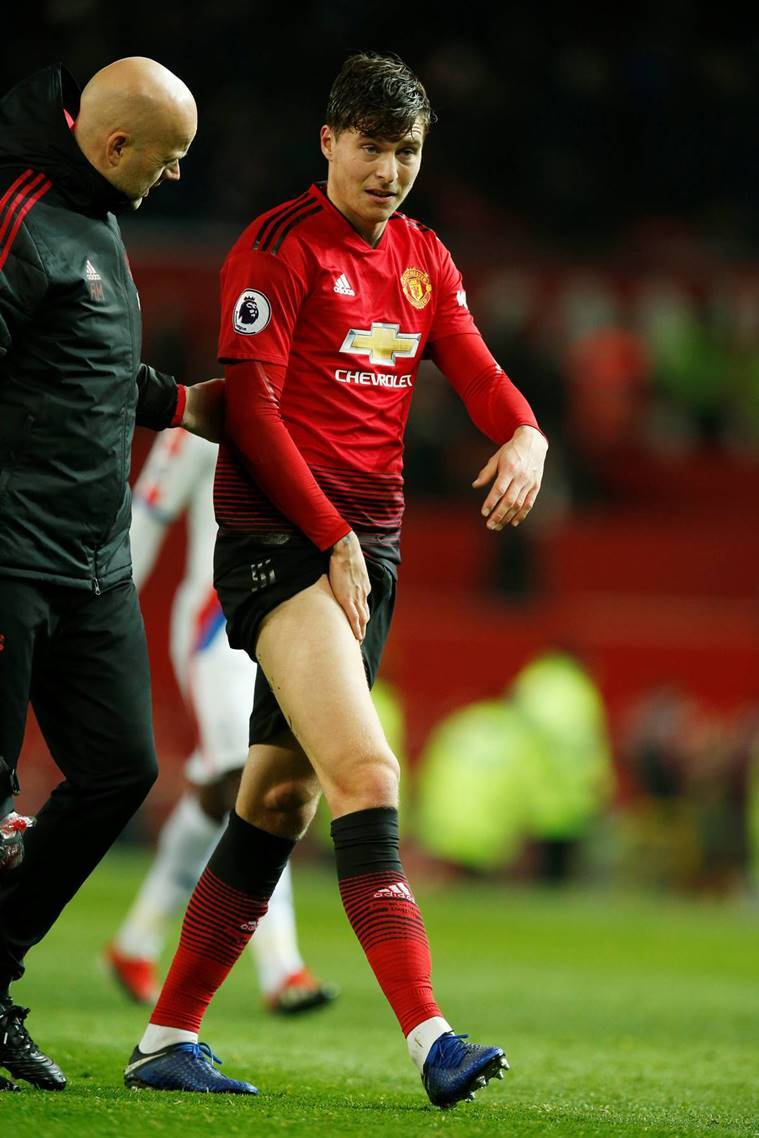 Manchester United's Victor Lindelof reacts after the match