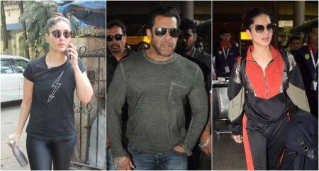 salman khan and sunny leone at the airport