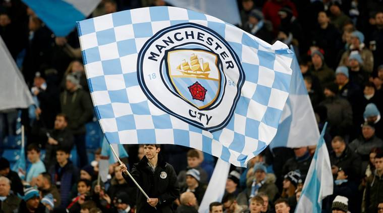 A giant Manchester City flag at the League Cup