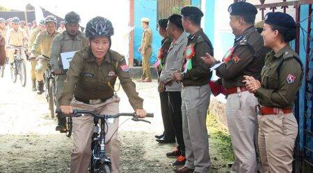 Manipur police, cycle patrol unit, police on cycle, manipur news, indian express