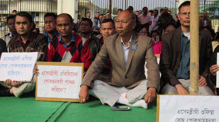 Manipur Assembly Speaker Y. Khemchand (second from right) at the demonstration in Imphal on Saturday.