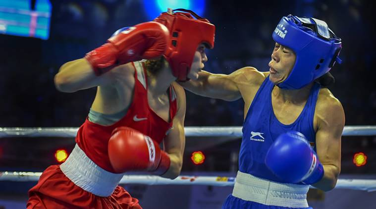 Mary Kom fights against Aigerim Kassenayeva of Kazakhstan
