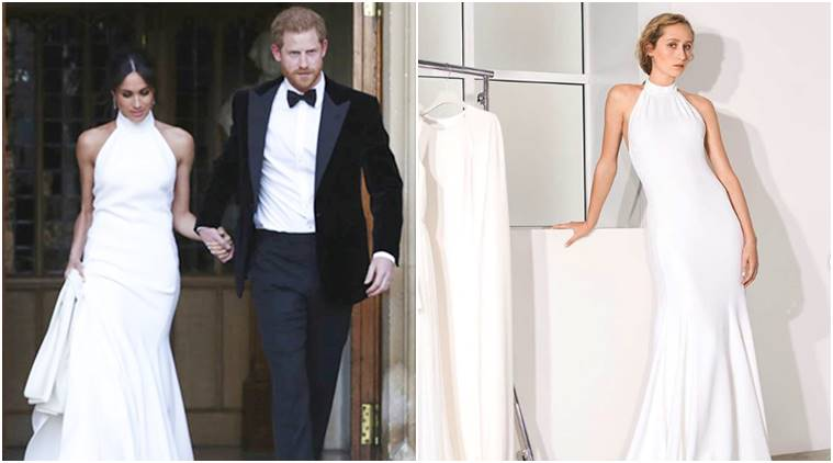 meghan markle, stella mccartney, meghan markle stella mccartney, meghan markle wedding, meghan markle reception, meghan markle prince harry, meghan markle reception dress, indian express, indian express news