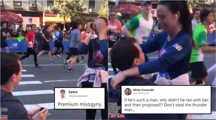 nyc marathon proposal, public marriage proposal, man propose gf during marathon, nyc marathon proposal video, man interrupts girl race proposal, viral news,, viral video, indian express, odd news