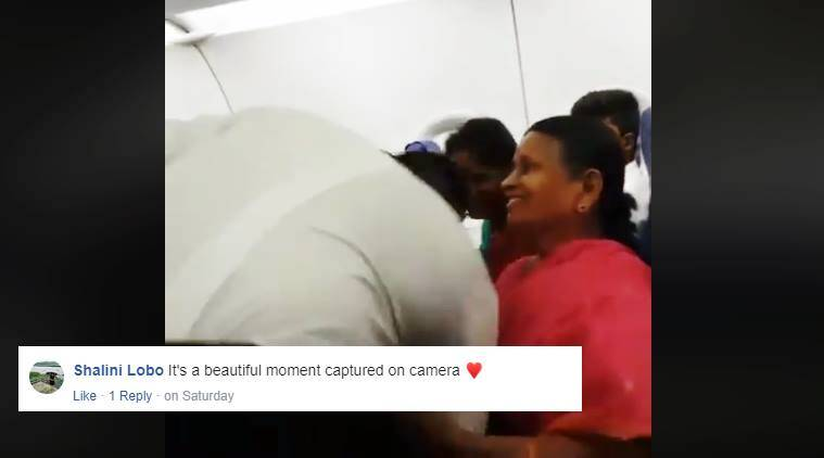 pilot touches feet of mother, pilot take blessing grandma, indigo pilot touch feet family, viral video, emotional video, indian express