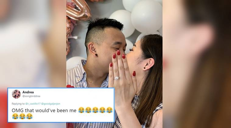 Woman serves as 'ring' for cousin's engagement photo in viral moment