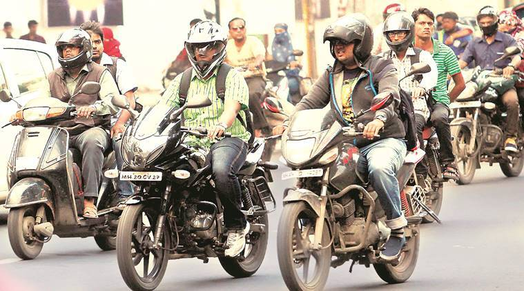 helmet rule, helmet compulsory, two-wheeler accident, two-wheeler riders with helmets, pune rue, pune traffic rule, pune news, indian express