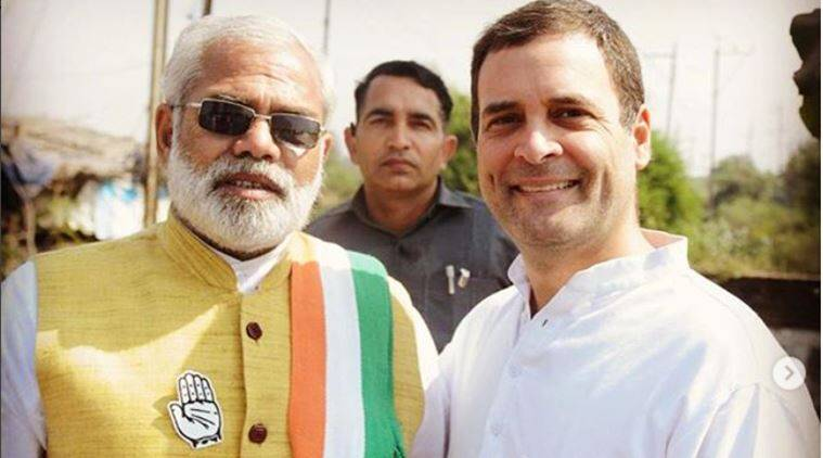 rahul gandhi, Chhattisgarh elections, rahul gandhi chhattishgarh campaign, modi lookalike chhattisgarh polls, chhattisgarh election modi lookalike for Congress, india news, viral photo, indian express