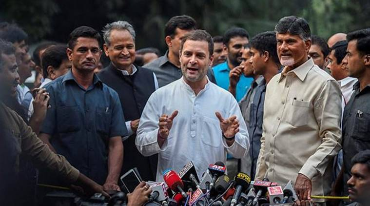 Congress chief Rahul Gandhi addresses the media after holding talks with Andhra Pradesh Chief Minister Chandrababu Naidu in the national capital on Thursday. (PTI)