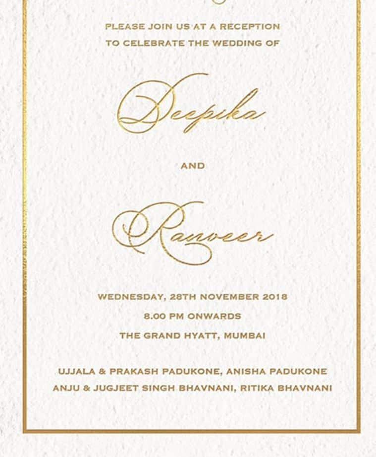 ranveer, deepika wedding reception mumbai invite