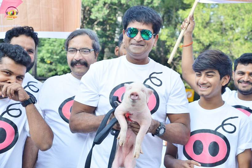 Ravi Babu with Adhugo team