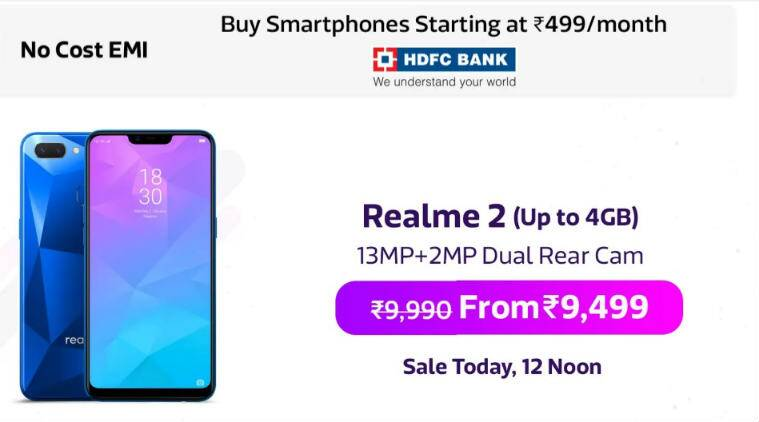 Realme 2 flash sale on Flipkart from 12pm: Price, specifications
