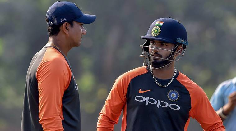 Visakhapatnam: Indian cricketer Rishabh Pant busy with batting coach Sanjay Bangar during an optional training session on the eve of 2nd ODI match against West Indies, in Visakhapatnam