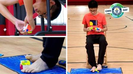 Teenager solves three Rubik's cubes with his hands and feet at the same time