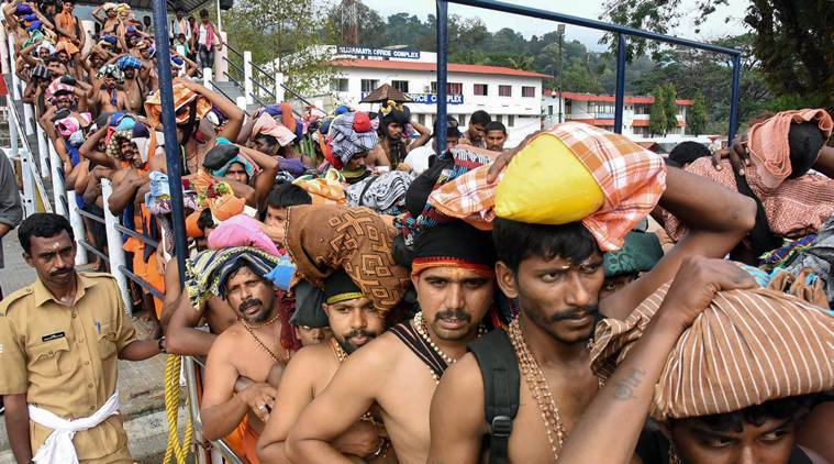 sabarimala, sabarimala row, sabarimala pilgrims, sabarimala protests, pilgrimage, pilgrimage season, kerala news, indian express