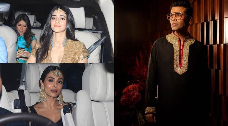 karan johar, ananya panday and malaika arora at diwali party