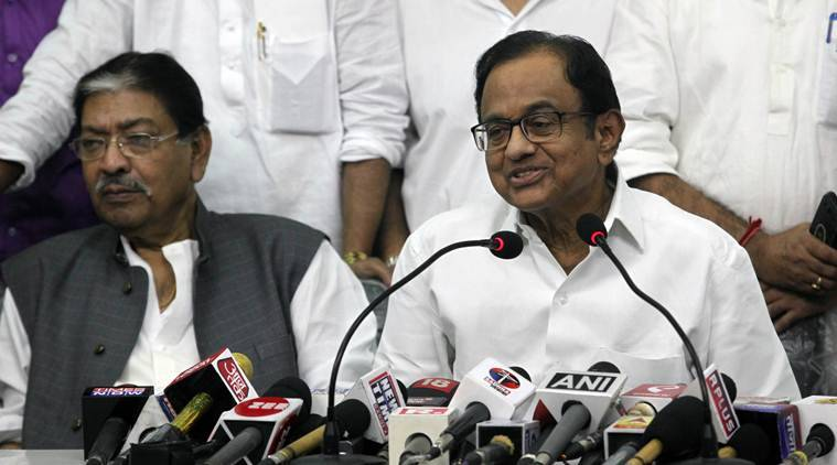 P Chidambaram during his press meet at West Bengal Pradesh Congress office at Bidhan Bhawan in Kolkata on Thursday
