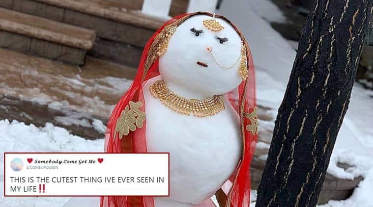 snowwoman, viral snow woman, snow bride viral photo, snaow jatti, indian snowwoman canada, brampton snow woman viral photo, funny news, indian express, odd news