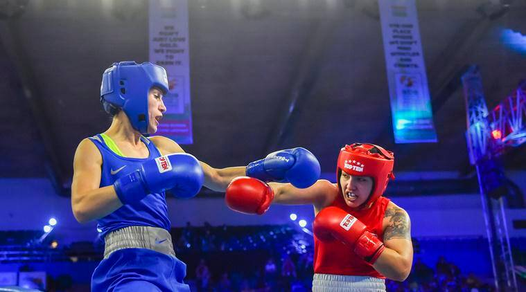 Stanimira Petrova during her bout against Rianna Rios at Women's World Boxing Championships