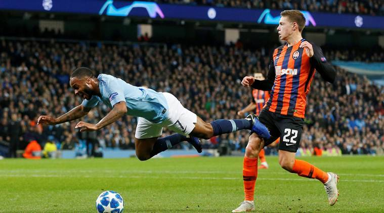 Champions League: Raheem Sterling apologises to referee over comedy penalty