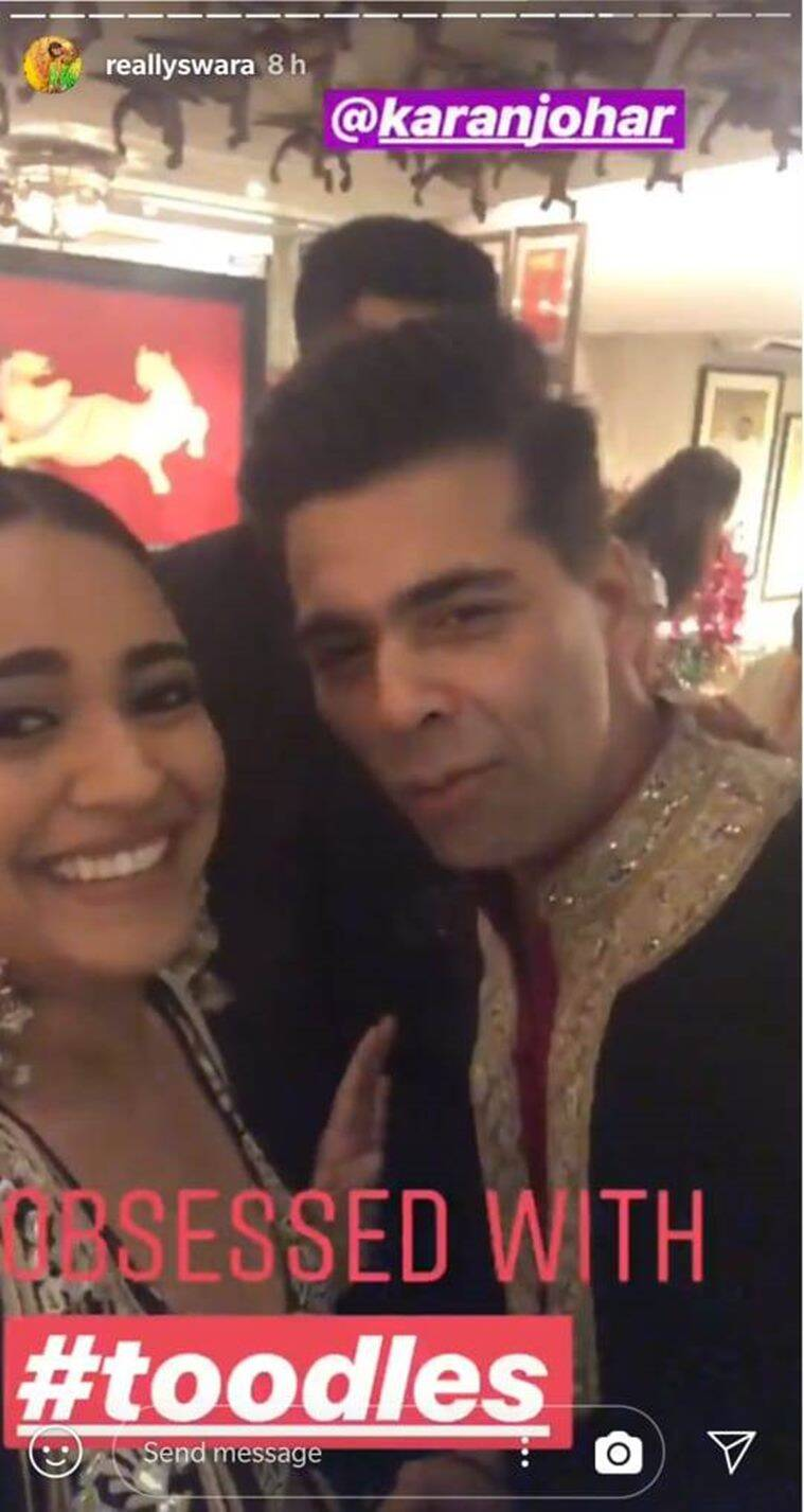 swara bhasker and karan johar at Diwali party