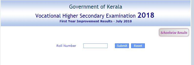 keralaresults.nic.in, VHSE Kerala First Year improvement results 2018, +1 result