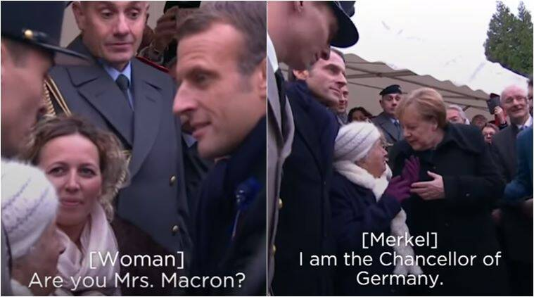 Angela Merkel, Emmanuel Macron, merkel macron wife confusion, woman confuses merkel as macron wife, world war I, first world war, WWI centenary, viral videos, indian express