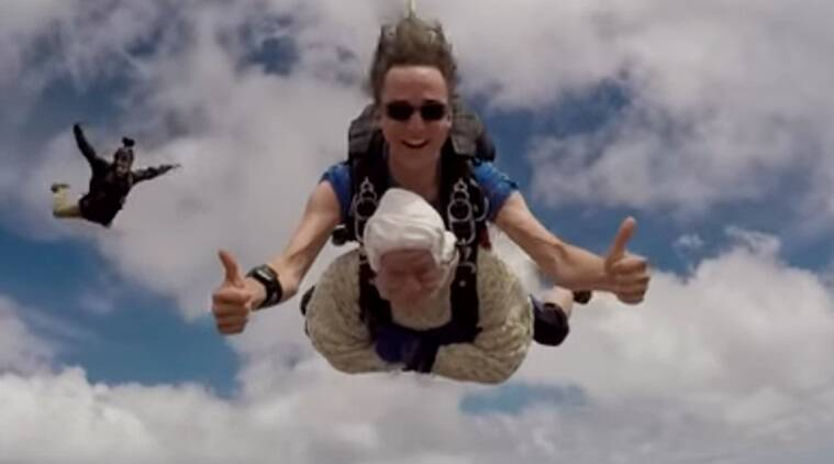 102 year old sky diver, oldest sky diver, woman sets record, 102 year old sky diver, sky diving, viral video, world record,