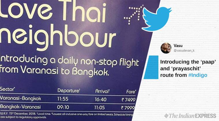 indigo, indigo varanasi to bangkok flight, indigo paap to prayaschit route, indigo viral ad, indian express, india news, funny news