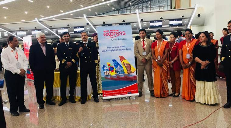 The Air India Express flight crew at the airport. (Express photo)