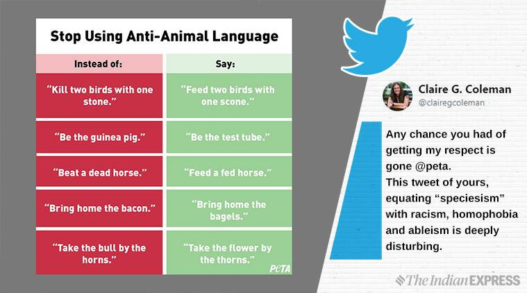 peta, peta anti animal language, peta racism, peta compares anti animal language racism, viral news, indian express,
