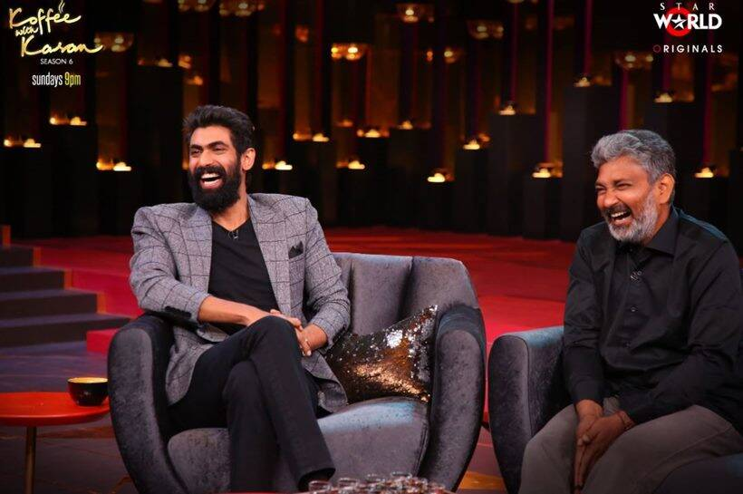 Rana Daggubati, prabhas and ss rajamouli koffee with karan 6