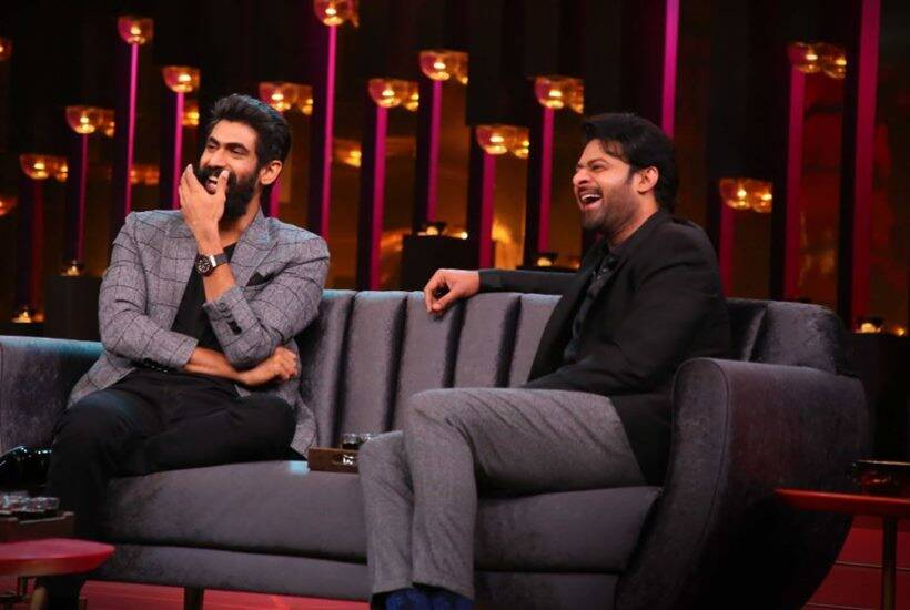 Rana Daggubati, prabhas and ss rajamouli with karan johar