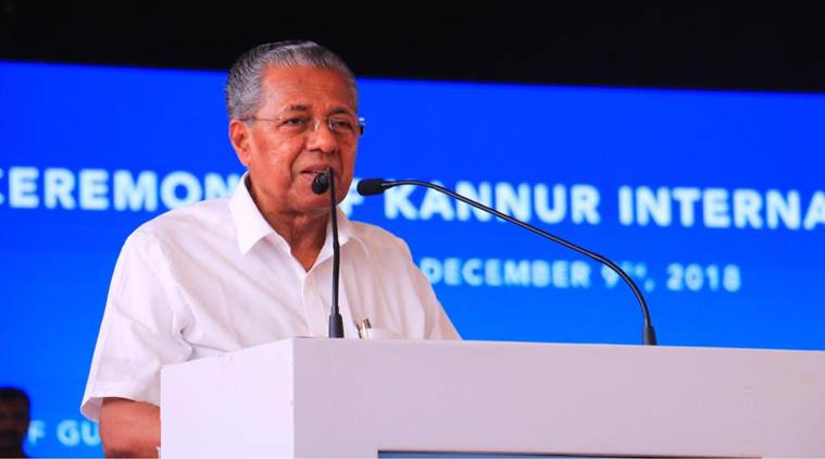 Kerala Chief Minister Pinarayi Vijayan addresses the crowd during the function. (Express photo)