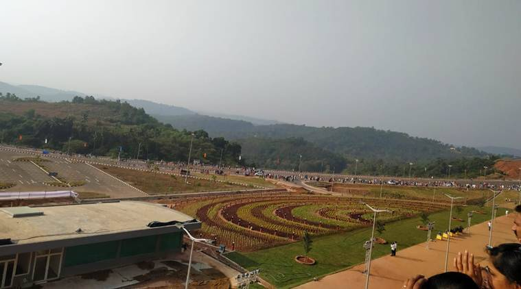 The greenfield airport, built on a public-private-partnership model, stretches across over 2,000 acres of land at Mattanur, a town 25 kilometres from Kannur town. (Express photo)