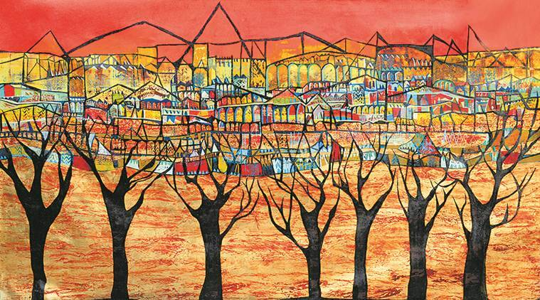 Vinita Karim's canvas, Vinita Karim pyramids of Egypt, the ghats of Varanasi, the red buildings of Marrakech arches reminiscent of Rome's gladiatorial arena, the 50000-seat Colosseum, Indian Express