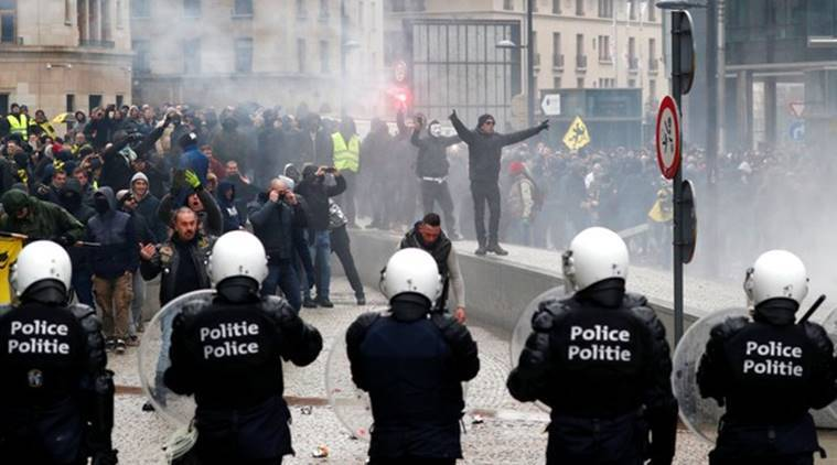 Brussels, Brussels protest, Marrakesh Migration pact, Belgium protest, migration belgium, belgium migration protest, world news, indian express, latest news