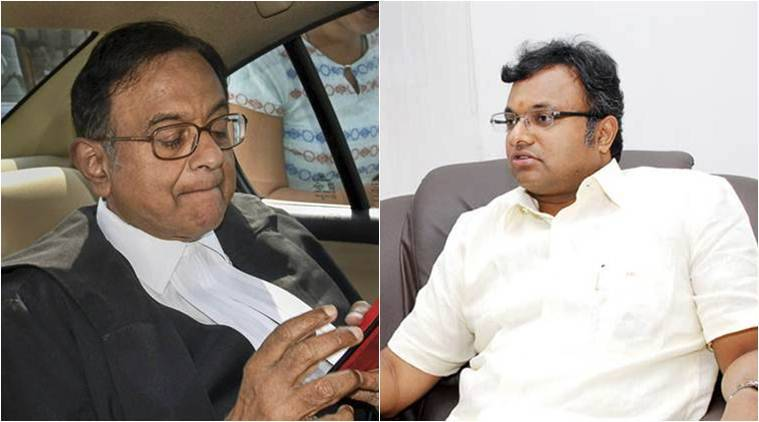 Former Union minister and Congress leader P Chidambaram and his son Karti Chidambaram. (File)
