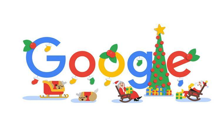 happy holidays, christmas, christmas google doodle, christmas 2018, holiday season, google doodle, santa claus, reindeers, google doodle today, today google doodle, indian express news
