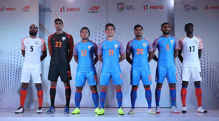c68e371f5 Sunil Chhetri with team players pose for picture during the official jersey  launch of the Indian