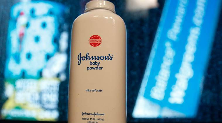A bottle of Johnson and Johnson Baby Powder.