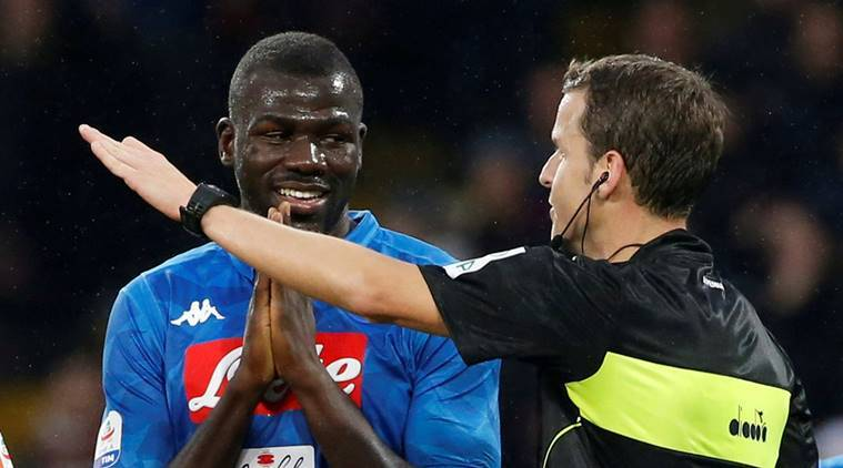 Napoli's Kalidou Koulibaly with referee Federico La Penna in the Serie A