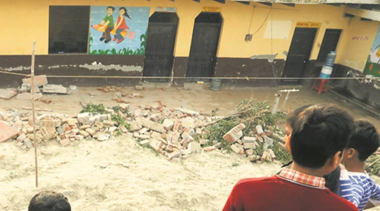 noida wall collapse, noida school wall collapse, students killed, injured in wall collapse, salarpur wall collapse, principal arrested, school principal arrested, indian express
