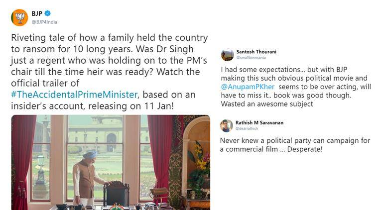the accidental prime minister, BJP, anupam kher, the accidental prime minister trailer, accidental prime minister book, BJP Accidental prime minister tweet, india news, indian express, entertainment news
