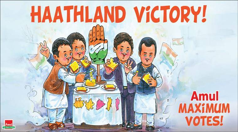 assembly elections 2018, election results 2018, results 2018, congress assembly election result, amul cartoon, latest amul cartoon, indian express