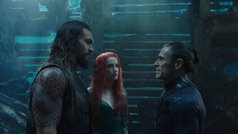 jason momoa, amber heard and willem dafoe,