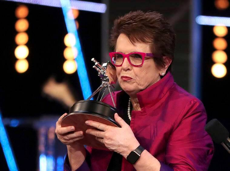 Tennis veteran Billie Jean King receives the Life Time Achievement Award during the BBC Sports Personality of the Year 2018 ceremony in Birmingham, England