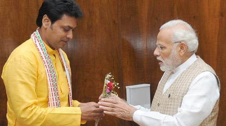 Chief Minister of Tripura, Biplab Kumar Deb, calling on the Prime Minister Narendra Modi.