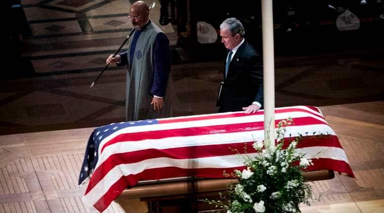 George Bush, George Bush funeral, George Bush farewell, George w Bush, Donald Trump, Barack Obama, Former US presidents, Former US president, US news, world news, Indian express